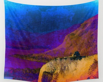 Wall Tapestry, Vista House Wall Hanging, Deep Blue Wall Tapestry, Rustic Abstract Oregon Wall Tapestry, Purple, Teal, Golden Landscape Decor