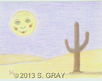 ACEO SFA Mister Moon original colored pencil fantasy cactus hills desert landscape nitelvr
