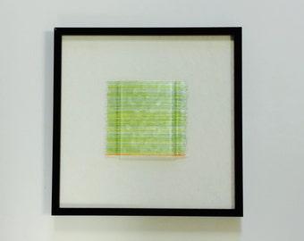 Framed Art Glass Dimensional Sculptural Abstract Art Spring Dew