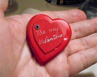 """Red Celluloid Hear Locket """"Be My Valentine"""" Celluloid   Bright Red Celluloid Heart  Brooch . Only 49.90"""