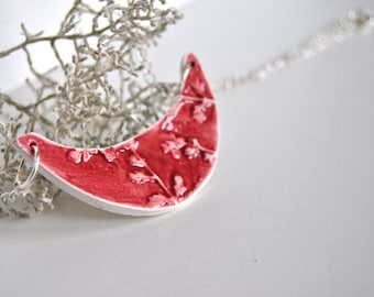 Ceramic necklace Floral hight relief red pink