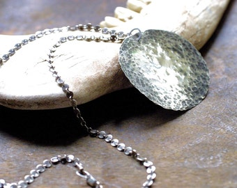 Athena - Large Round Hammered Sterling Silver Pendant Necklace - Rustic -Boho Chic - Textured Silver - Minimalist