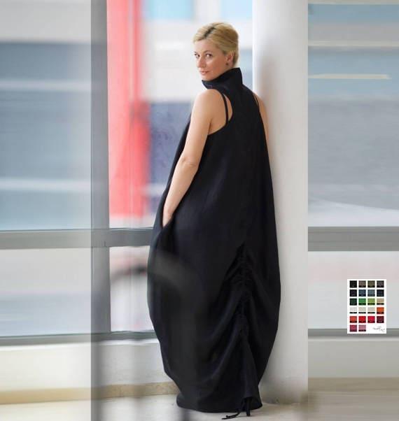 Leinen-Kleid Trendy Plus Size Kleidung Plus Größe Maxi-Kleid