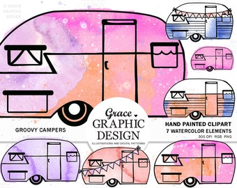 Retro Camper Clipart, Watercolor Splash Clipart, TieDye Clipart, Camping Clipart, Camping Sticker Planner Sheet, Watercolor Van clipart