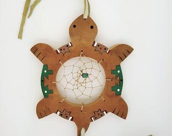 Handmade Native American turtle totem wooden dream catcher