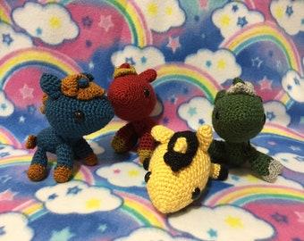 Amigurumi Crochet Harry Potter Hogwarts House Colors Unicorn Gryffindor Slytherin Ravenclaw Hufflepuff