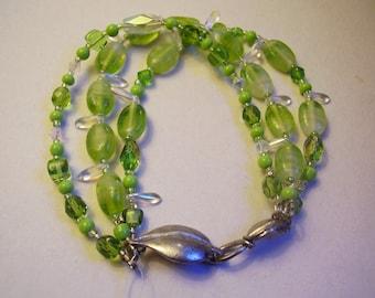 Three Strand Bracelet Multistrand Bracelet Lime Green Bracelet Pixie Glass Leaf Bracelet Crystal Bracelet with Pewter Leaf Toggle
