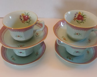 Vintage Hand Painted Green and Pink Tea Cup and Saucer with Flowers by Adams England Calyx Ware