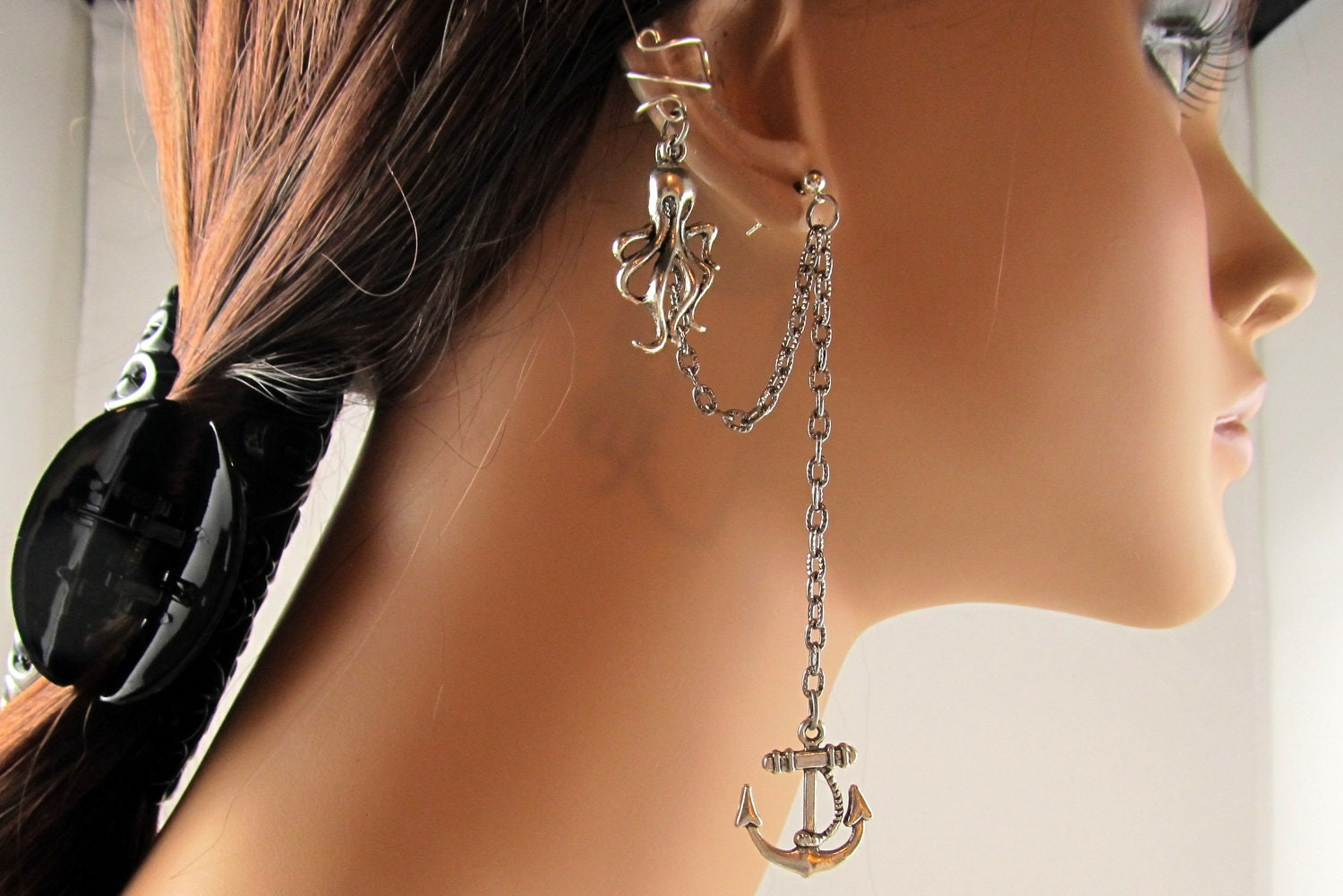octopus and anchor earring nautical silver chain ear cuff
