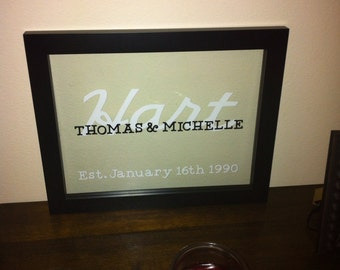 Personalized Name Floating Frame - Wedding, Anniversary Gift