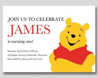 Winnie the Pooh Birthday Invitation - Custom Printable