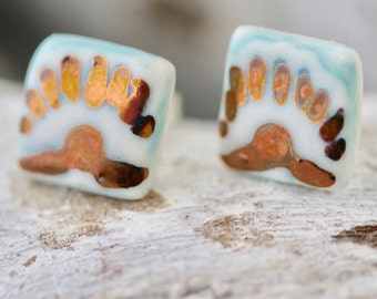 Turquoise Square Porcelain Earring Studs with Copper Lustre Detail