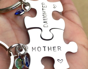 Mother Daughter Keychain,Mother Daughter Gifts, Hand Stamped Keychains With Your Message, Puzzle Keychains, Personalized, Natashaaloha