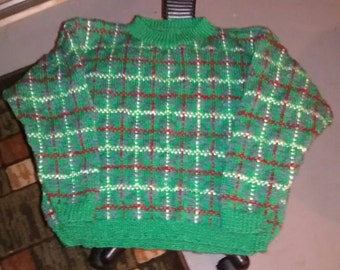 Green tiles sweater Scots for children 8-10 years