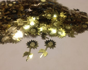 20 gold color sunflower confetti / sequins, 13 x 23 mm (16)