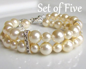 Ivory Pearl Bracelet, Double Strand Pearl Bracelet, Multi-Strand, Pearl Cuff, Pearl Bridesmaids Bracelet, Bridesmaids Gift Set, Wedding