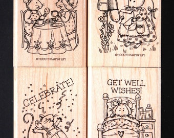 Stampin' Up Mice Messages Wood Mounted Red Rubber Stamp Set - Friends, Country, Birthdays, Get Well, Cards, Scrapbooks