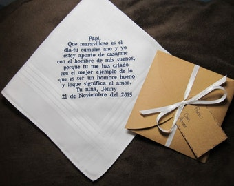 Father of the Bride - Spanish Version - Personalized Wedding Handkerchief With Free Gift Envelope - Shown with Navy Blue Non Script Writing