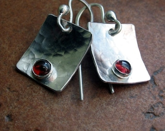 Hammered Sterling Silver Garnet Dangle Earrings - Petite Berries