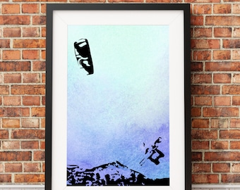 Original design kitesurfing silhouette print A4