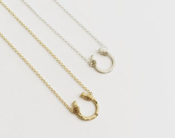 Sterling Silver Itty Bitty Horseshoe Necklace // Cable Chain