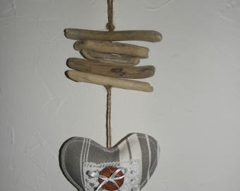 Hanging decoration, driftwood and heart in gray and white ticking