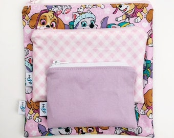 Reusable snack bag sets baggies eco friendly lunch bags toy bags storage pink paw patrol dogs puppy doggie pawpatrol skye chase
