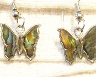 Vintage Silver Abalone Butterfly Dangle Earrings - BUT-52 - Boho Vintage Earrings - Abalone Butterfly Earrings - Abalone Dangle Earrings