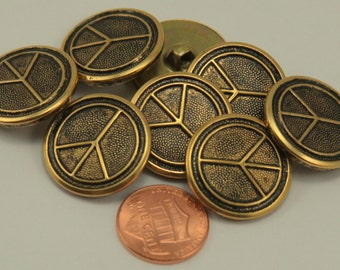 """Lot of 8 Antiqued Brass Tone Peace Sign Metal Buttons 7/8"""" 23mm"""