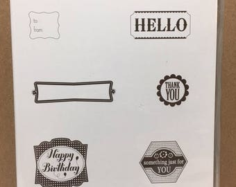 Stampin' Up! LABEL SOMETHING Retired Clear Mount Stamp Set