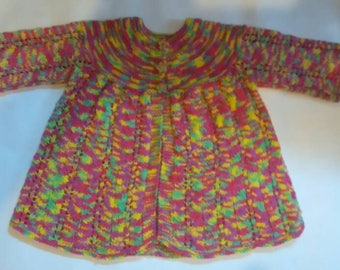 Hand knitted, girls multi-coloured matinee jacket. Vintage style. Unique.