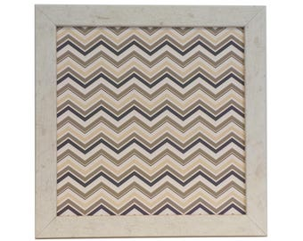 Magnetic Board - Magnet Board - Dry Erase Board - Framed Bulletin Board - Office Wall Decor - Earthtone Chevron Design - includes magnets