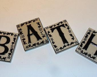 4 Ceramic Letter Tiles, Crafting Tiles, B A T H letters,  Single Letter Tiles, Decorative Ceramic Letters, Home Decor, Crafts, Decorator
