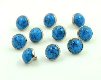 100 sets Turquoise Blue Rivet Stud Leather Craft Decorations Fashion 10 mm.