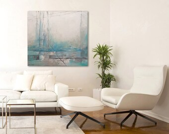 Turquoise Painting, Abstract Landscape Painting, Modern Abstract Art, Acrylic Painting, Original Canvas Art, Original Acrylic Painting, Esie
