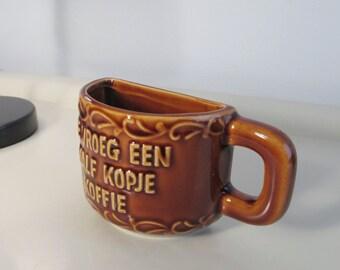Vintage Pottery Teacup Mug in Brown color