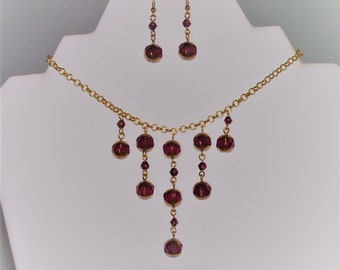 Purple and Gold Cascade Necklace and Earrings Jewellery Set