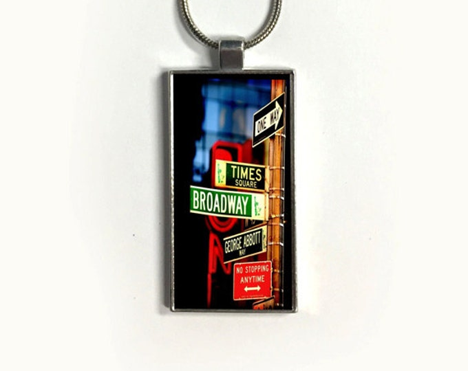 Necklace BROADWAY, Pendant, New York,  Time Square, street sign, sublimation, gift for friends