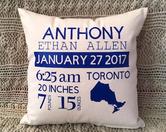 Baby pillow etsy baby gift birth announcement baby shower gift baby pillow personalized pillow negle Choice Image
