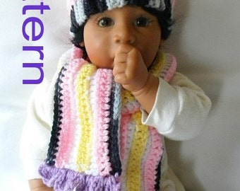 PDF Pattern Crochet Hat and Scarf 4 Sizes Striped Kiddy with Flower for Baby 0-3 months 3-6 months 6-9 months and 9-12 months