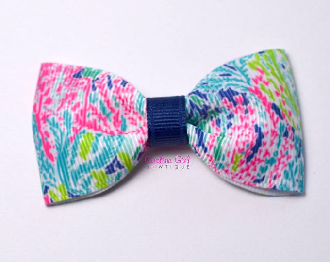 """Lets Cha Cha Navy Colorway ~ 3"""" Hair Bow Tuxedo Bow ~ Lilly Inspired ~ Simple Bow ~ Boutique Bow for Babies Toddlers ~ Girls Hair Bows"""