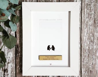 Penguin Love Couples Personalised Print