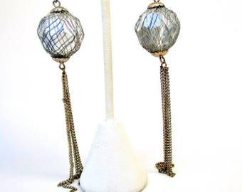 "Vintage Wire Wrapped Huge Silver Bead Pale Gold Chain Tassel 4"" Earrings 1980's Disco Retro Art Deco Mod Modern Long Runway Statement"