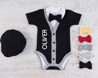 Baby Boy Personalized Cardigan, Bodysuit, Hat & Bow Tie Black Set, Baby Boy Gift, Baby Boy Clothes, Baby Boy Outfit, Boy Baby Shower Gift