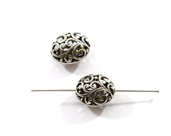 2 Silver Filigree Oval Beads, Silver Beads, Oval Beads, Filigree Beads