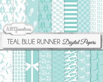 "Running Digital Papers ""TEALBLUE RUNNER""  sport patterns,10K, trophy, running shoes, sneakers, running, shoelace, marathon, confetti, sports"