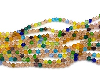 100 beads glass bicone faceted - bead 6 mm - mixed colors beads - A285