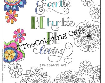 Coloring Cafe® Coloring Pages Download Set of 4 Bible Scripture Verses Printable Coloring Pages