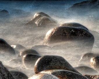 Photographic Print of sea and boulders at Porth Nanven, Cot Valley,  Penwith, Cornwall. Perfect Gift.