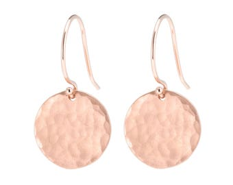14K Rose Gold Hammered disc earrings, Solid 14K Rose Gold Earrings, 14K Gold Disc Earrings, Textured Disc Earrings, Gift for Her
